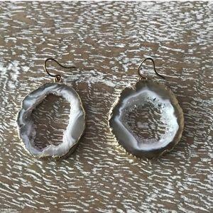 Anthropologie Geode Gold Plated Hoop Earrings